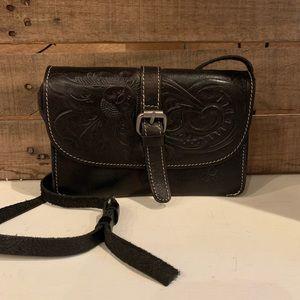 Patricia Nash Black Leather Embossed Crossbody